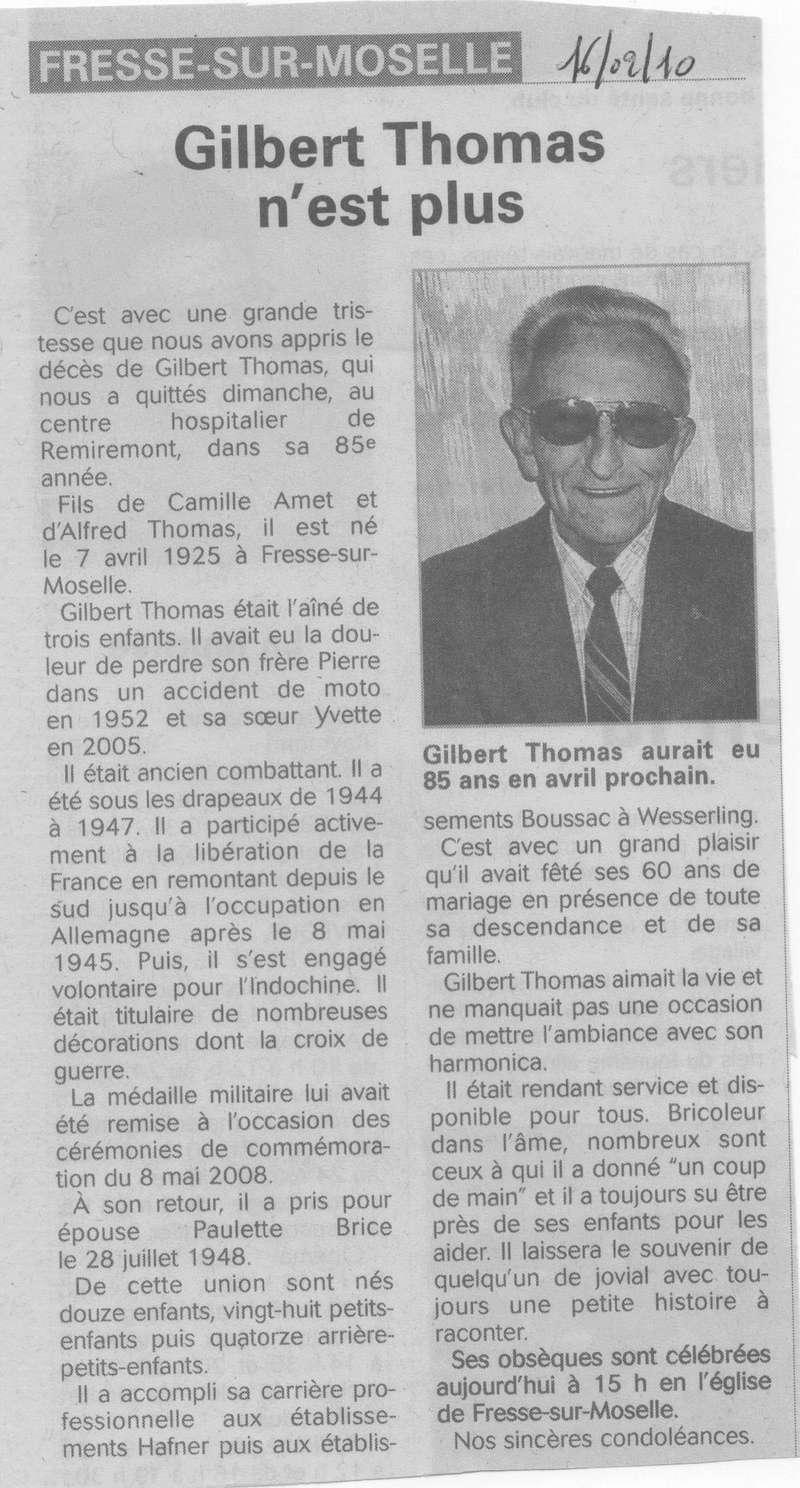 FRESSE SUR MOSELLE - SOUVENIRS DE GILBERT THOMAS 38_00110