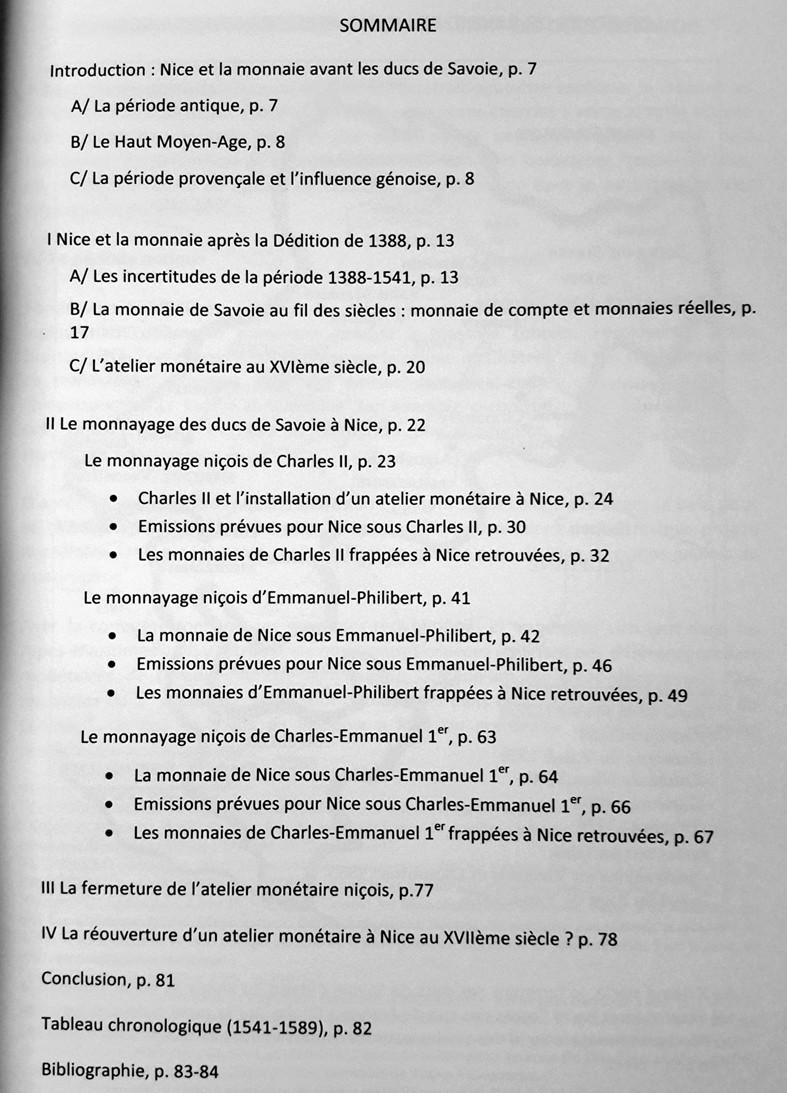 """Nouvel ouvrage """"La Monnaie de Nice sous les Ducs de Savoie"""" ... Sommai10"""