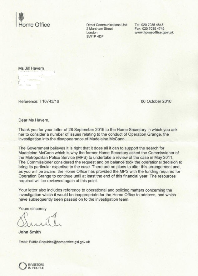 Letter sent today to the Prime Minister and Sir Bernard Hogan-Howe suggesting Met Police enquiry into Maddie McCann mystery is not genuine Home_o10