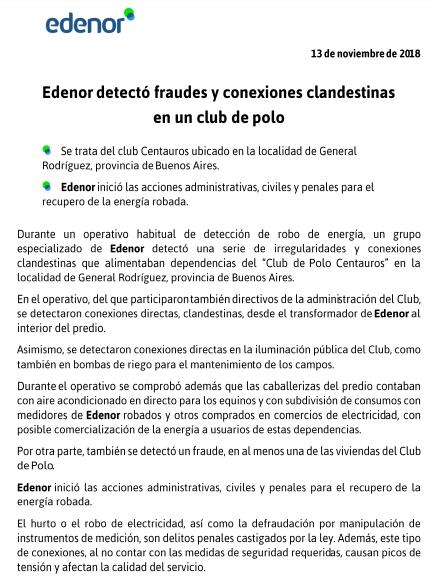 Edenor detectó conexiones clandestinas en un club de polo de General Rodríguez 00136