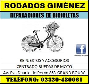 En Grand Bourg, tu bici está en Rodados Giménez. Rodado20