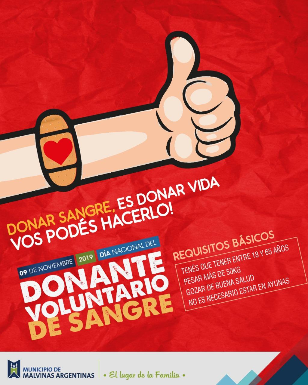 Malvinas Argentinas: Día Nacional del Donante de Sangre. Whatsa23