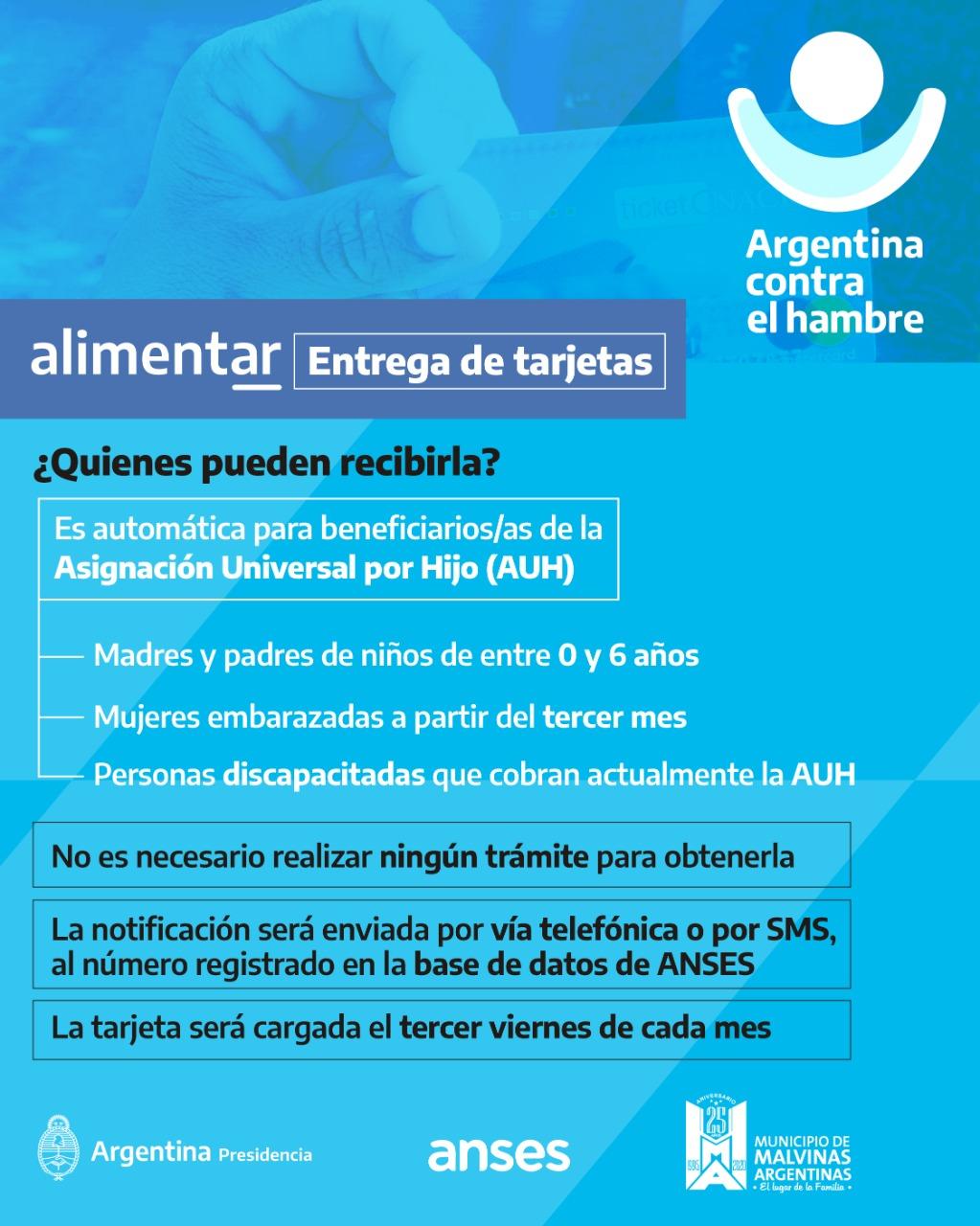 Malvinas Argentinas: entrega de tarjetas alimentarias. Whatsa25