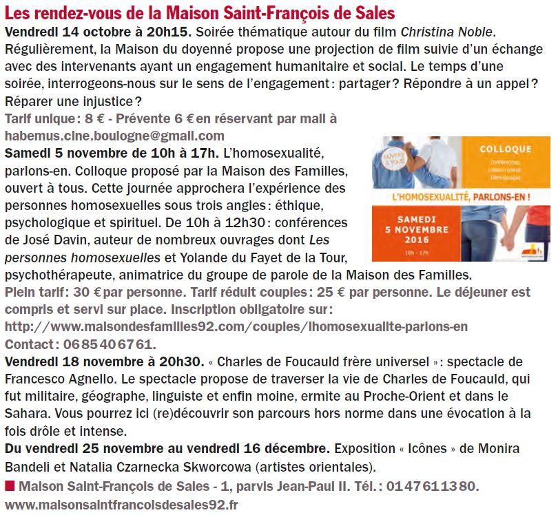 Evènements proposés par la Maison Saint François de Sales Clipb176