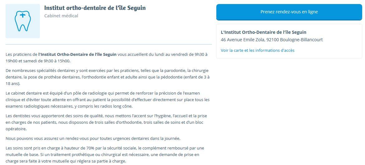 Institut ortho dentaire de l 39 le seguin - Cabinet medical boulogne billancourt ...