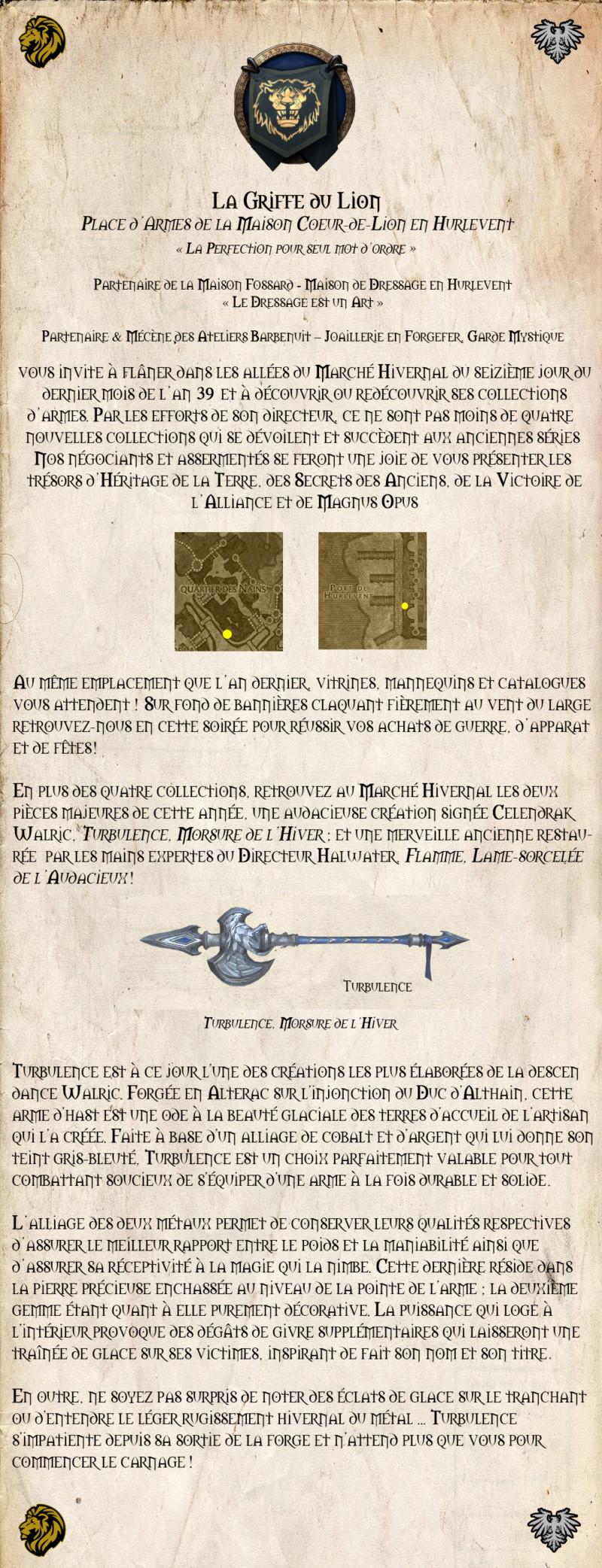 La Griffe du Lion, boutique d'armes Affich15