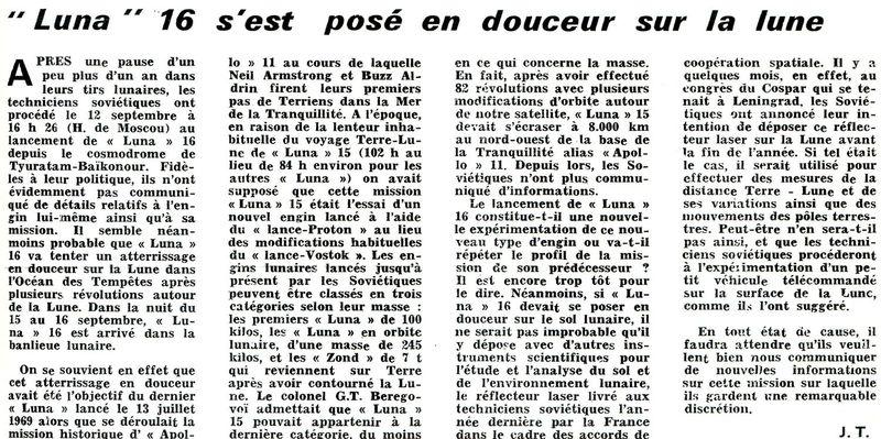 12 septembre 1970 - Luna 16 (trop tard) 70100110