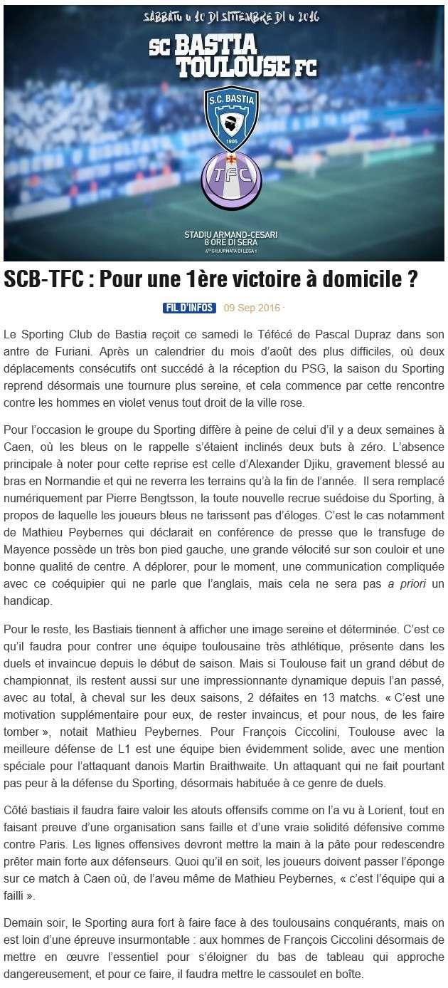 Avant match : Bastia - Toulouse S12