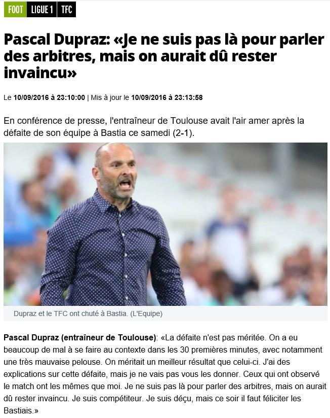Après match : Bastia 2- 1 Toulouse S14