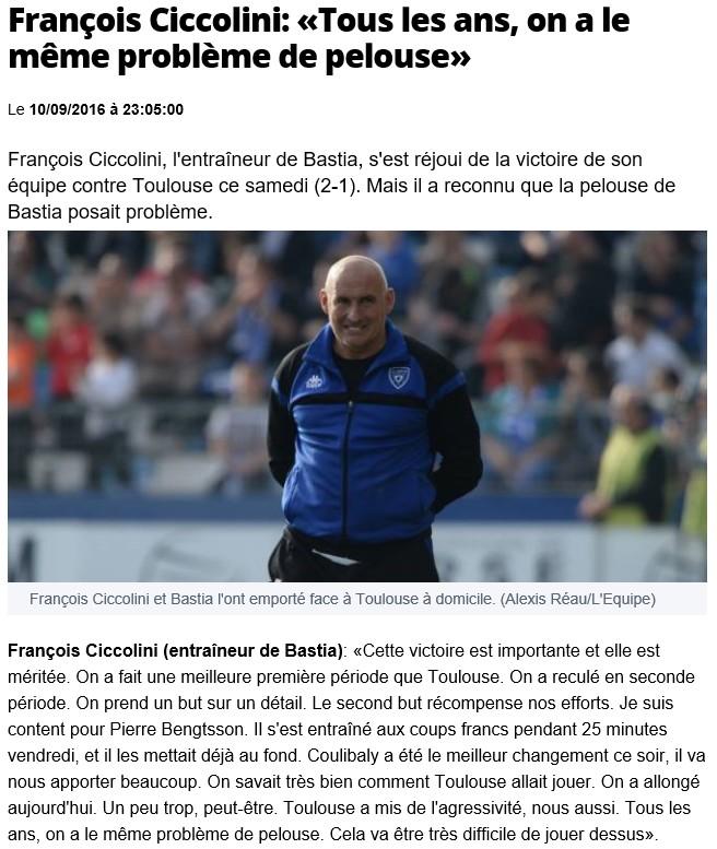Après match : Bastia 2- 1 Toulouse S15