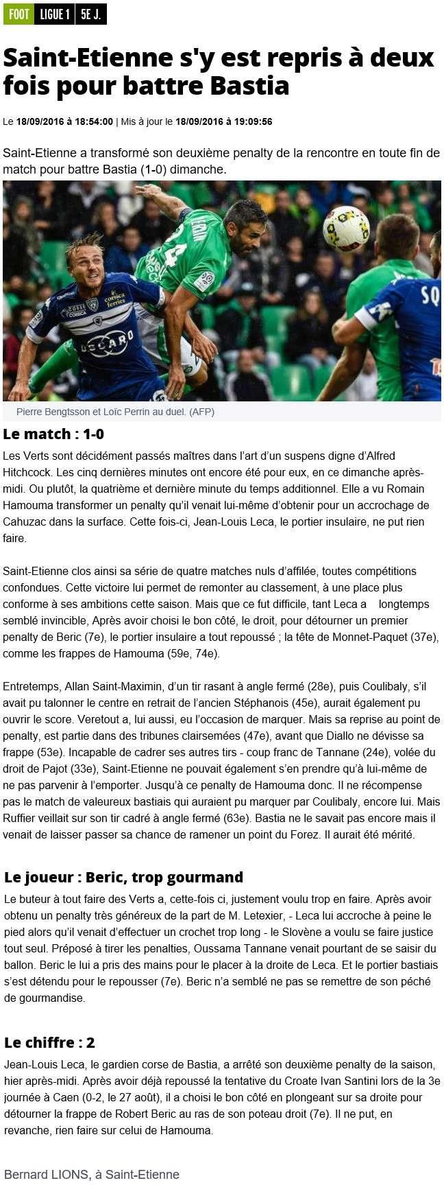 Après match : St Etienne 1-0 Bastia S18