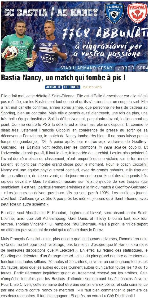 Avant match : Bastia - Nancy S24