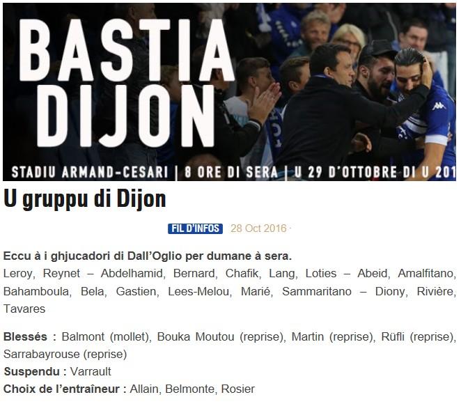 J11 / Jeu des pronos - Prono Bastia-Dijon S58