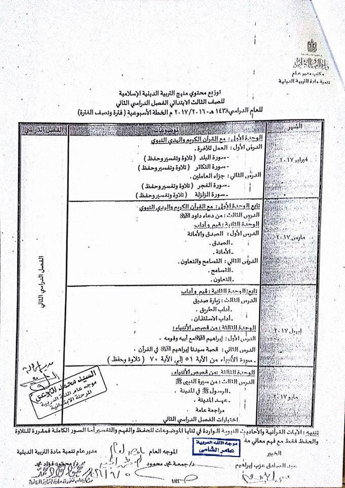 توزيع منهج التربية الدينية الاسلامية للصف الثالث الابتدائي 2019  للترمين O__o_o10