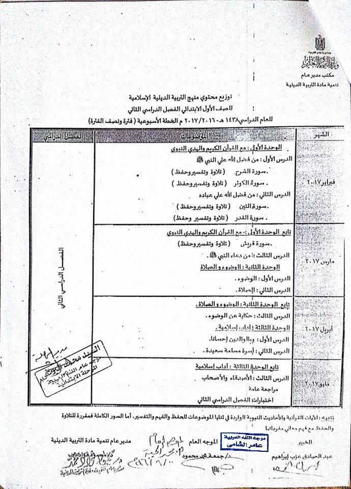 توزيع منهج التربية الدينية الاسلامية للصف الاول الابتدائي 2019 للترمين Uo__o_11