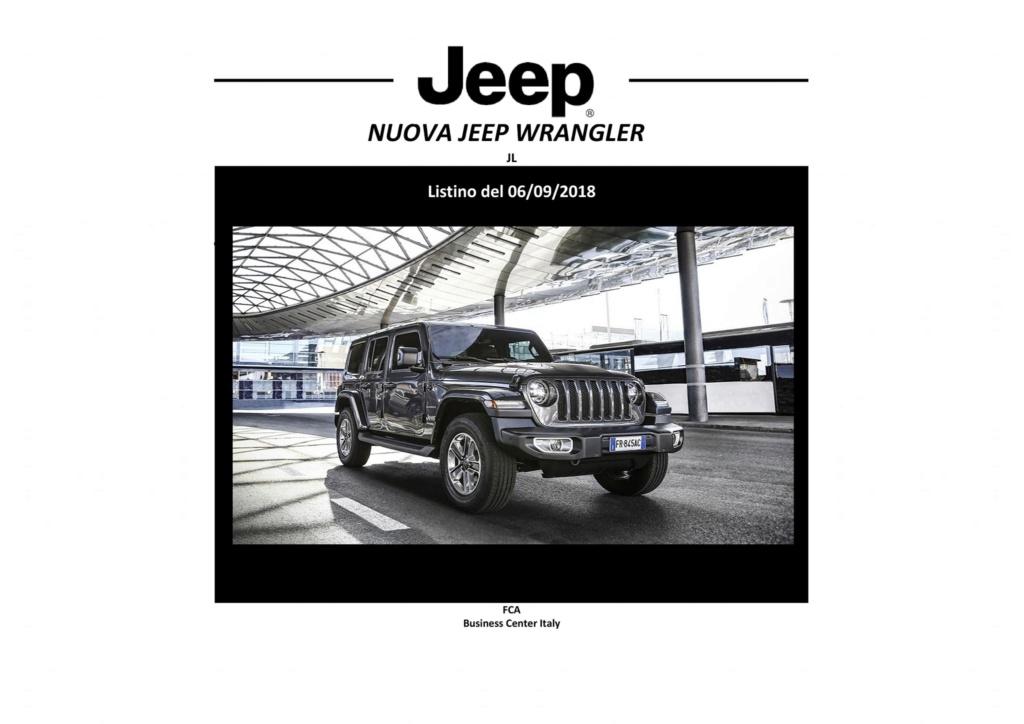 Jeep® Nuova Wrangler JL: listino del 06/09/2018  41250410