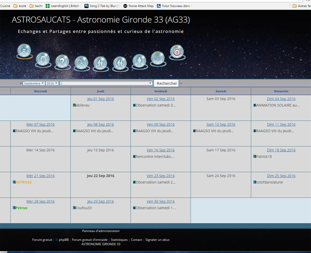 Nouveautés sur le forum (archives) Bugcal10