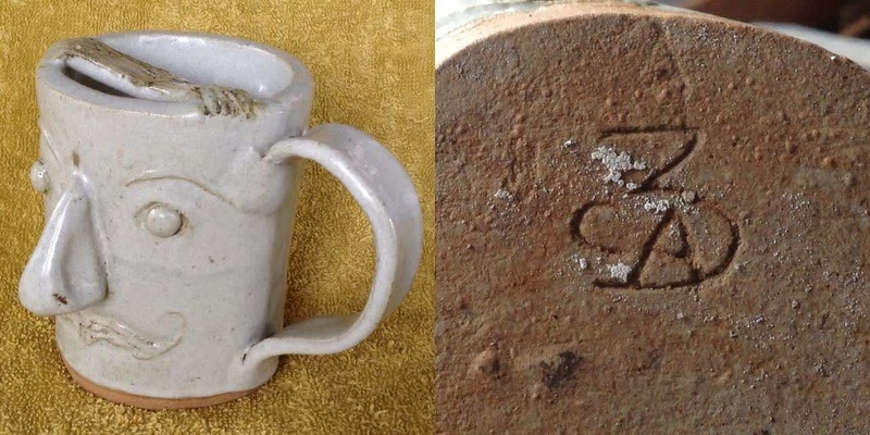 slab-formed face mug with big nose (moustache cup) and thrown mug with white eyes Bignos10