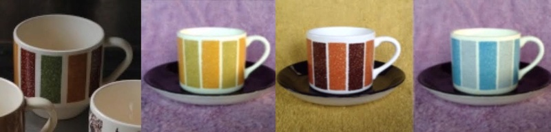 Patterns from 3012 cups reused on various coffee cans: Focus, Motif, Conifer (and Talahasse vs Candy Stripe) Candy10