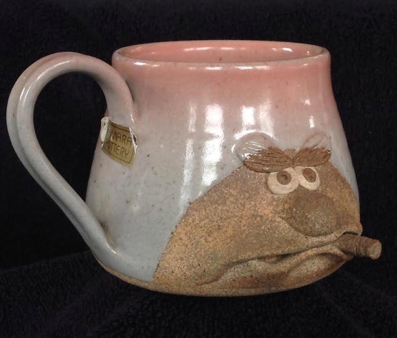 Paul Hemara face mug and Hemara Pottery sticker Hemara11