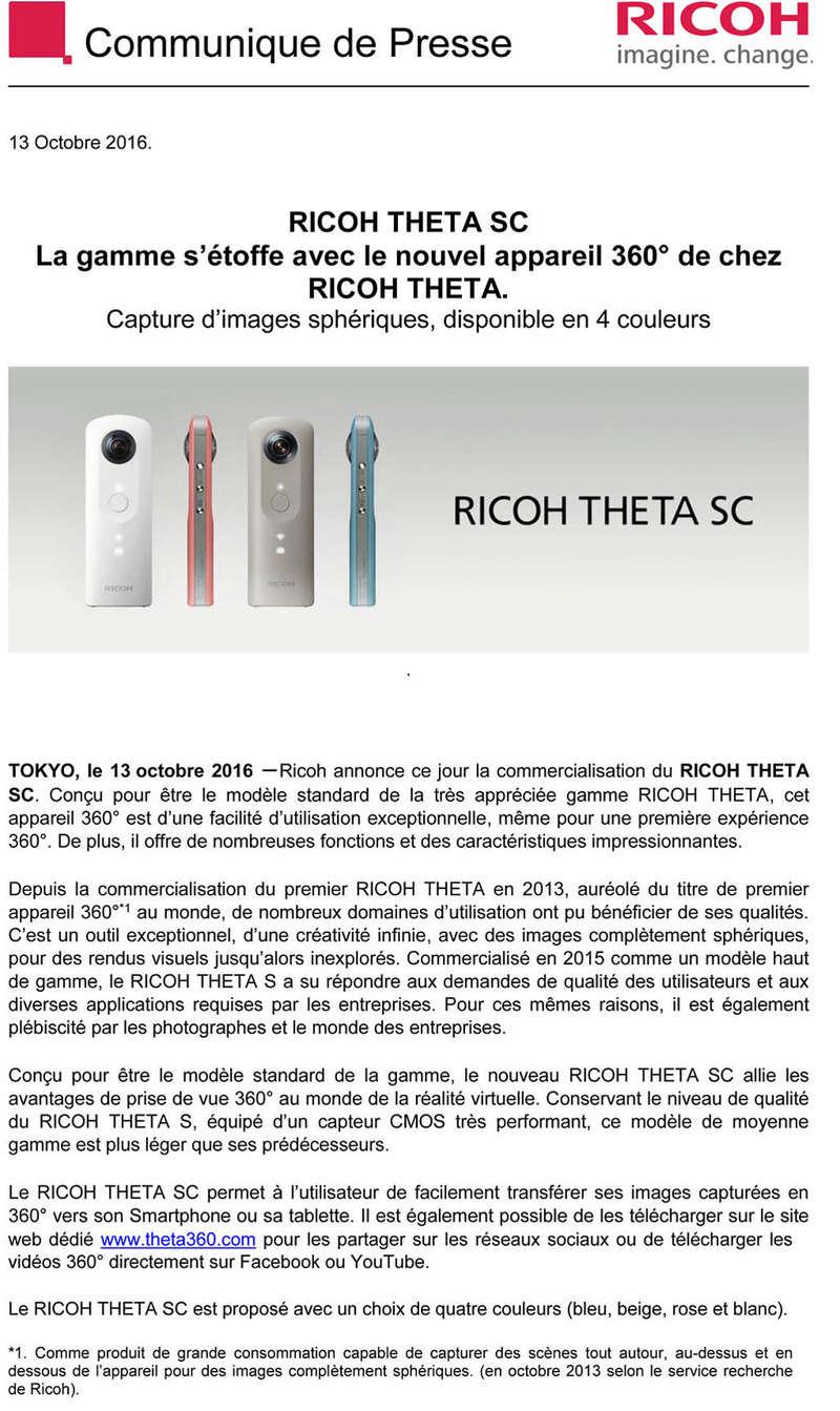 PENTAX RICOH IMAGING - Communiqué de Presse 13/10/2016 - RICOH THETA SC 2016-113