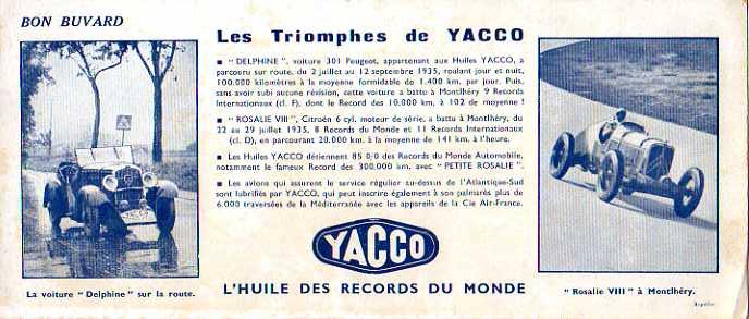 "Les ""Rosalie"" Citroën des records YACCO Buvard10"
