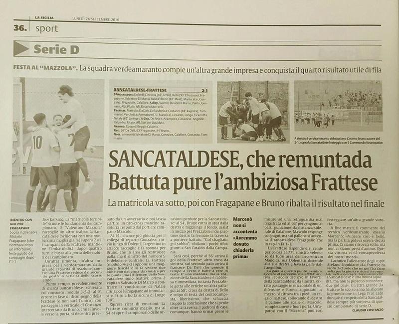 Campionato 4°giornata: SANCATALDESE - frattese 2-1 14390810