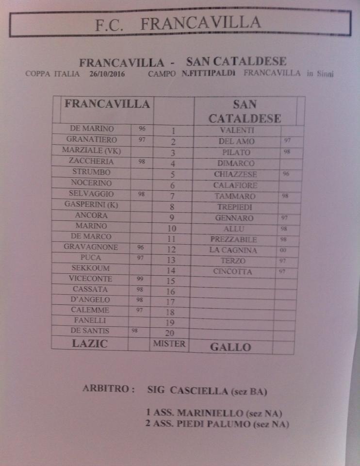 3° Turno c.i. - Gara unica: francavilla - SANCATALDESE 3-0 14479610