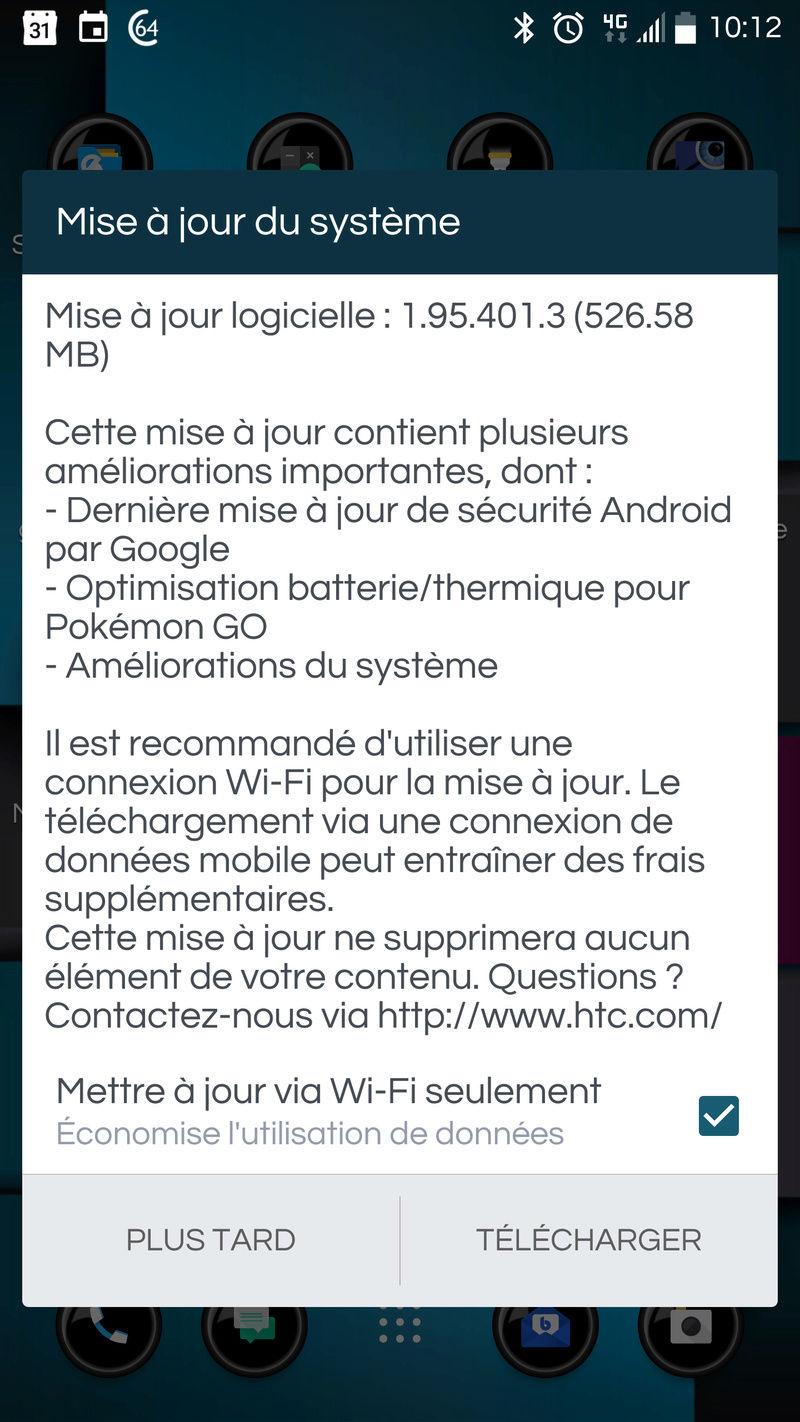 [INFO] Mise à jour en 1.95.401 pour le HTC 10 Screen10