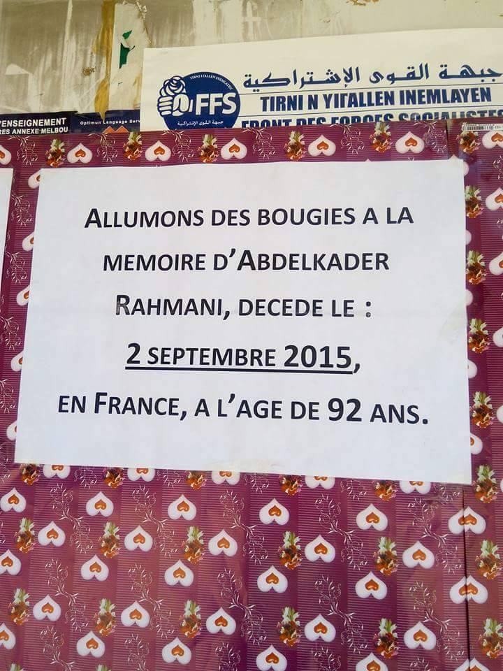 Allumage de Bougies le vendredi 02 septembre 2016 à 19 heures à Aokas à la mémoire du père fondateur de l'académie Berbère Abdelkader Rahmani 134