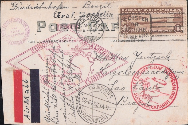 """nach - Südamerikafahrt 1930 (Rundfahrt-) Post nach Friedrichshafen"""" - Seite 6 Holyok11"""