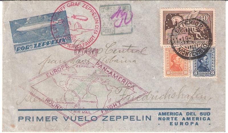 """nach - Südamerikafahrt 1930 (Rundfahrt-) Post nach Friedrichshafen"""" - Seite 6 Urugua10"""