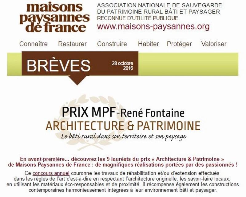 """9 lauréats pour le prix """"Architecture & Patrimoine"""" de Maisons Paysannes de France Captur17"""