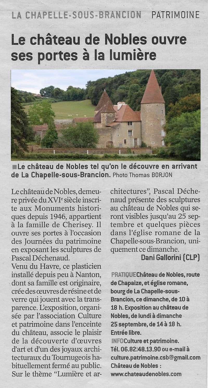 Le château de Nobles, demeure privée du XVIe siècle inscrite aux Monuments Historiques depuis 1946, appartient à la famille de Cherisey qui ouvre ses portes à l'occasion des Journées du Patrimoine en exposant les sculptures de Pascal Déchenaud. Le_cha10