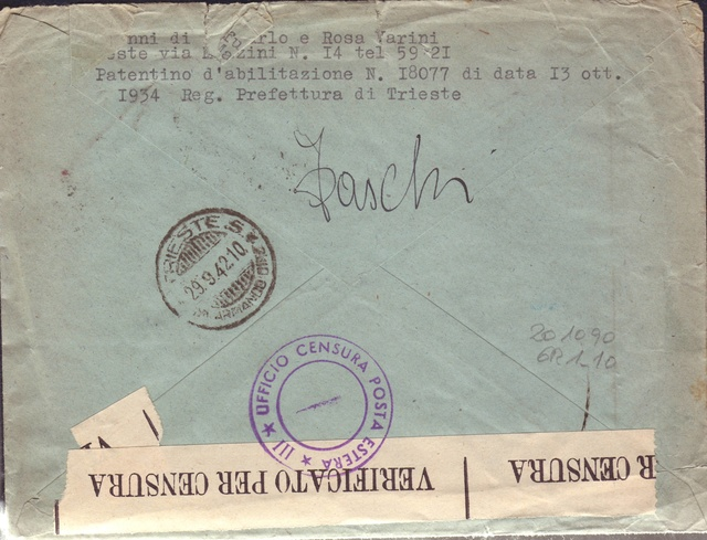 La censure italienne d'occupation en France avant l'invasion de la zone libre : MENTON ou MILAN 10002311