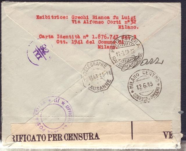 La censure italienne d'occupation en France avant l'invasion de la zone libre : MENTON ou MILAN 12001710