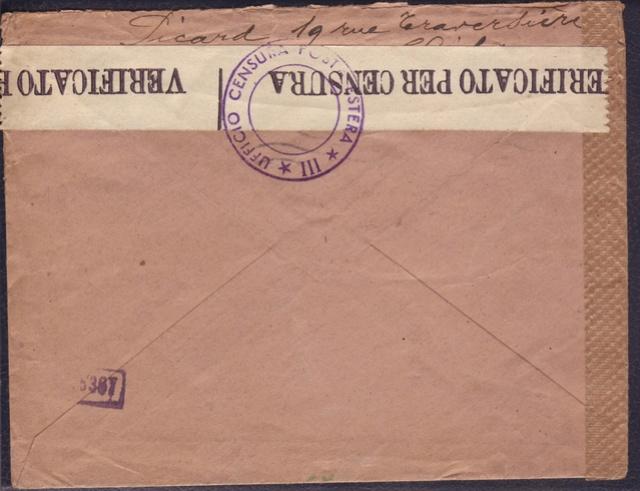 La censure italienne d'occupation en France avant l'invasion de la zone libre : MENTON ou MILAN 5010210
