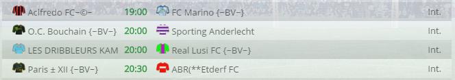 Points infos matchs IE et IS saison81 Bv20012