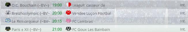 Points infos matchs IE et IS saison81 Bv20015