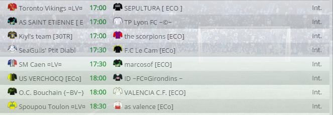 Points infos matchs IE et IS saison81 Eco30012