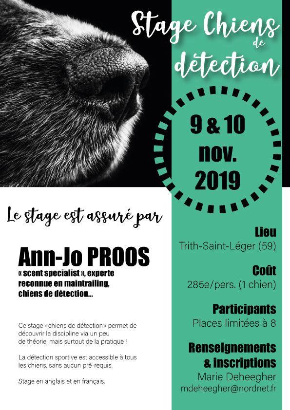 """Stage """" Chiens de Détection """" avec Ann-Jo Proos - 9 et 10 novembre 2019 ( dpt 59 ) Affich10"""