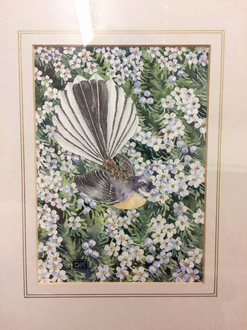 New Zealand Fantail Bird and flower Watercolour - OK monogram Img_9110