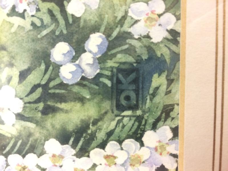 New Zealand Fantail Bird and flower Watercolour - OK monogram Img_9111