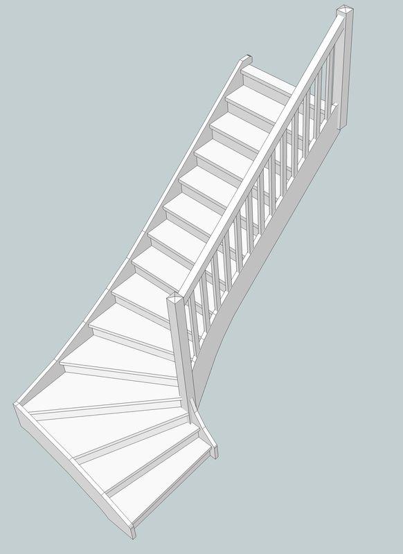 Escalier Droit en Frêne avec tiroirs  Escali10