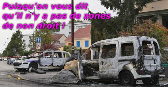 Voitures de police incendiées à Viry Chatillon - Agressions contre des policiers Puisqu10