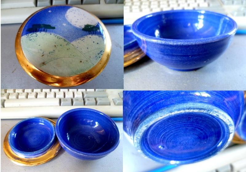 late 20th C Moonlight Scene Gilt finished lidded bowl Mooon10
