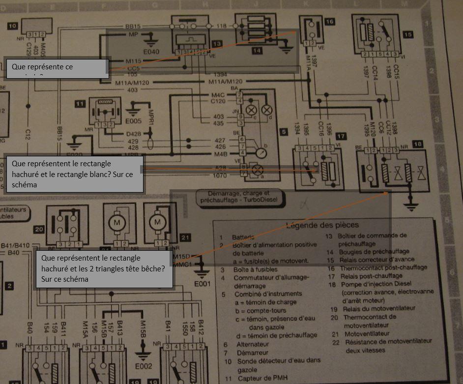 Schéma électrique commande post chauffage 405 diesel Turbo phase 2 Captur35