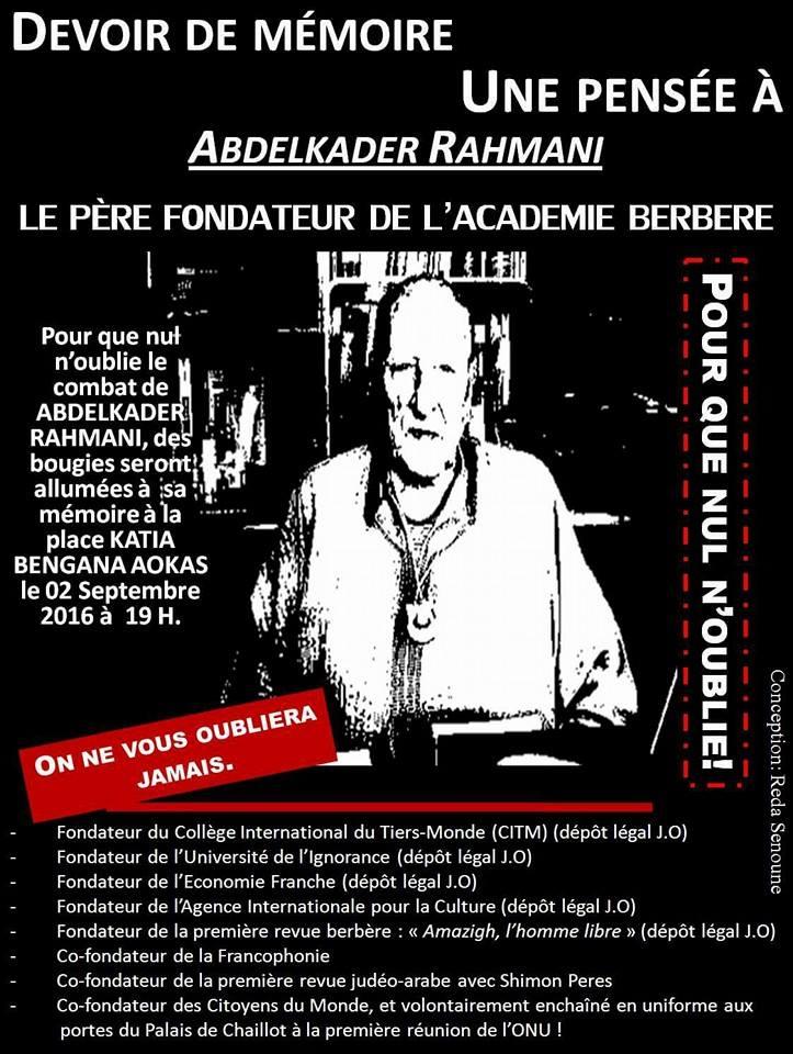 Allumage de Bougies le vendredi 02 septembre 2016 à 19 heures à Aokas à la mémoire du père fondateur de l'académie Berbère Abdelkader Rahmani 211