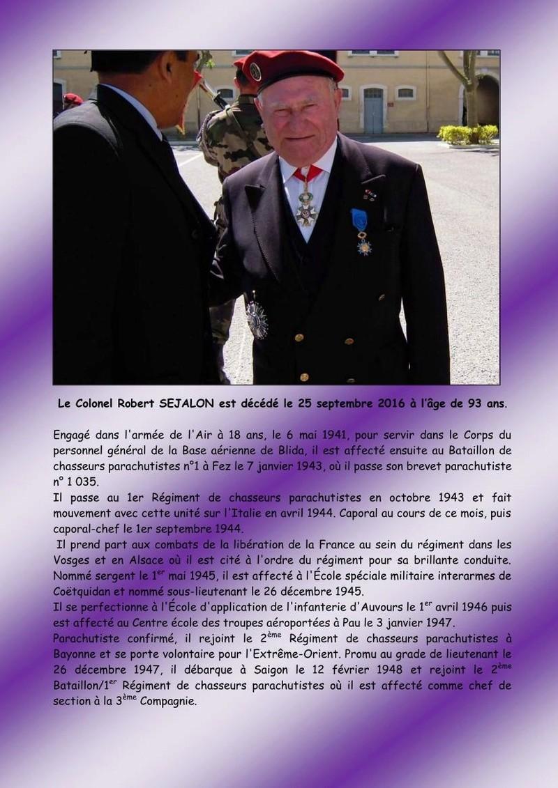 Décès du colonel (er) Robert SEJALON, une figure du 1er RCP Colone10