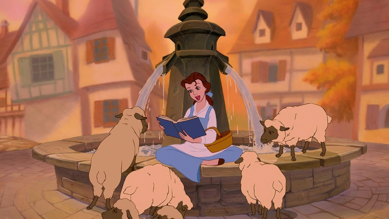 Mystère  de mon enfance : quel est le livre que lit Belle sur la fontaine dans La Belle et la Bête ? 14940413